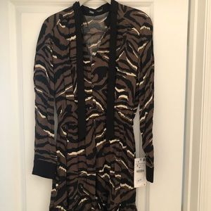 New Zara zebra tie front shirt dress size small.